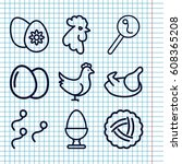 set of 9 egg outline icons such ... | Shutterstock .eps vector #608365208