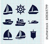 set of 9 sail filled icons such ... | Shutterstock .eps vector #608365799