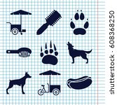 set of 9 dog filled icons such... | Shutterstock .eps vector #608368250