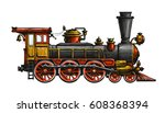 vintage steam locomotive. drawn ... | Shutterstock .eps vector #608368394