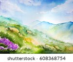 watercolor illustration. spring ... | Shutterstock . vector #608368754