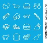 meat icons set. set of 16 meat... | Shutterstock .eps vector #608369870