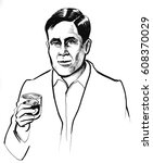 man with whiskey | Shutterstock . vector #608370029