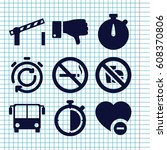 set of 9 stop filled icons such ... | Shutterstock .eps vector #608370806