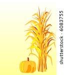 Vector Corn Stalk With Pumpkin.