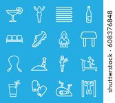lifestyle icons set. set of 16... | Shutterstock .eps vector #608376848