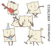 set 5 of unique cartoon pillows ... | Shutterstock .eps vector #608378513