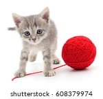 kitten with ball of yarn... | Shutterstock . vector #608379974