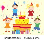 children cake birthday cards... | Shutterstock . vector #608381198