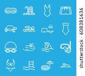 swim icons set. set of 16 swim... | Shutterstock .eps vector #608381636