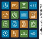 watch icons set. set of 16... | Shutterstock .eps vector #608382200