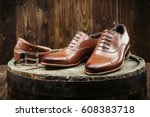 stylish men's shoes and belt on ... | Shutterstock . vector #608383718