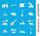 landscape icons set. set of 16... | Shutterstock .eps vector #608383904