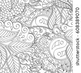 tracery seamless pattern.... | Shutterstock .eps vector #608389070