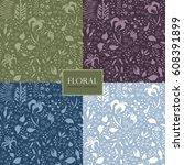 summer seamless pattern of... | Shutterstock .eps vector #608391899