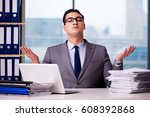 businessman meditating in the... | Shutterstock . vector #608392868