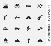set of 16 editable trip icons.... | Shutterstock .eps vector #608393744