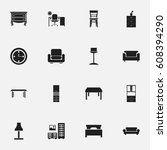 set of 16 editable furnishings... | Shutterstock .eps vector #608394290
