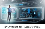 businessman in big data... | Shutterstock . vector #608394488