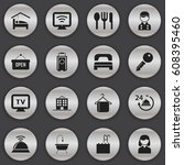set of 16 editable plaza icons. ...