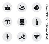 set of 9 editable family icons. ...