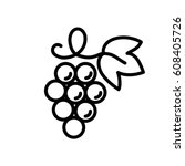 grape wine fruit with leaf line ... | Shutterstock .eps vector #608405726