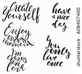 conceptual hand drawn phrase... | Shutterstock .eps vector #608407400