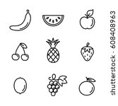fruits line icons set black on... | Shutterstock .eps vector #608408963