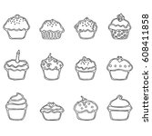 cupcake thin line art icon set... | Shutterstock .eps vector #608411858