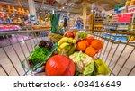 grocery shop cart in...   Shutterstock . vector #608416649