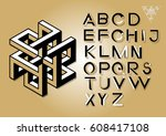 impossible geometry letters.... | Shutterstock .eps vector #608417108