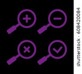 magnifier glass icons. plus and ... | Shutterstock .eps vector #608420084