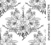 doodle floral drawing seamless... | Shutterstock .eps vector #608421794