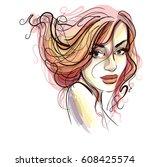 stylish original hand drawn... | Shutterstock .eps vector #608425574