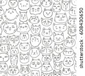 cat faces seamless pattern.... | Shutterstock .eps vector #608430650