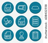 set of 9 document outline icons ... | Shutterstock .eps vector #608432558