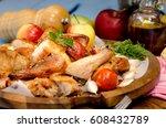 grilled chicken leg with... | Shutterstock . vector #608432789