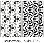 vector monochrome seamless... | Shutterstock .eps vector #608434178