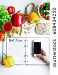 concept diet  slimming plan... | Shutterstock . vector #608434250
