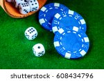 poker chips and dice on green... | Shutterstock . vector #608434796