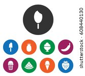 set of 9 sweet filled icons...   Shutterstock .eps vector #608440130