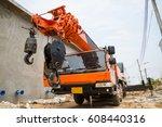 boom truck  crane truck...   Shutterstock . vector #608440316