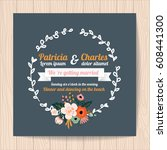 wedding invitation card with... | Shutterstock .eps vector #608441300