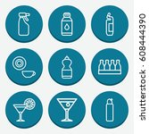 set of 9 drink outline icons...
