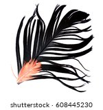 black feather on a white... | Shutterstock . vector #608445230