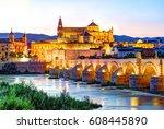 roman bridge and guadalquivir... | Shutterstock . vector #608445890