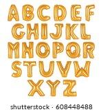 english alphabet from orange... | Shutterstock . vector #608448488