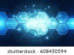 abstract digital technology... | Shutterstock .eps vector #608450594