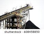 crusher and conveyor belt in... | Shutterstock . vector #608458850