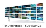 video screens wall with man... | Shutterstock . vector #608460428